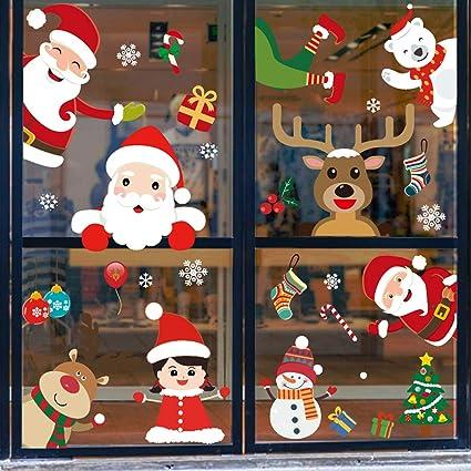 Multicolor O-Kinee Navidad Pegatina de Pegatina Ventana de Pared Tienda De PVC Pegatina De Pared Decoraci/ó De Navidad Copos De Nieve Pared Decoraci/ón Pegatina de Pared