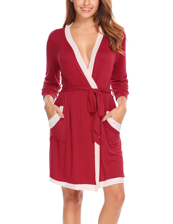 HOTOUCH Femme Peignoir de Bain Kimono Robe de Chambre Pyjama Manche 3 4 S- XXL GMK005121 eb5120835e7