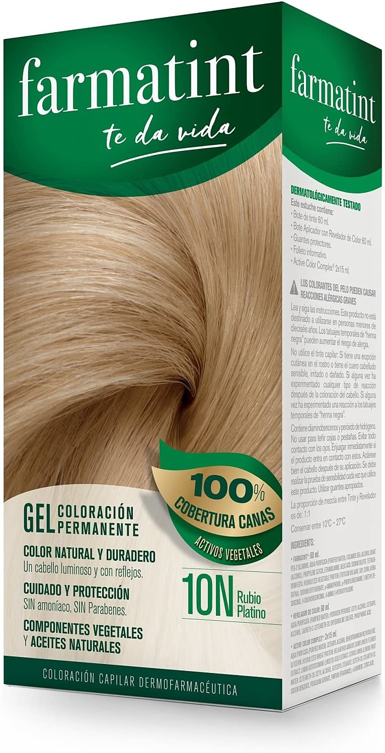 Farmatint Gel 10N Rubio Platino | Color natural y duradero ...