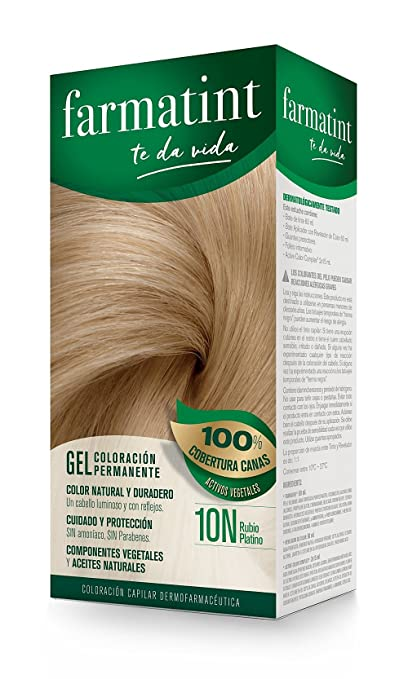 Farmatint Gel 10N Rubio Platino. Tinte permanente. Cabello natural y color duradero. Sin