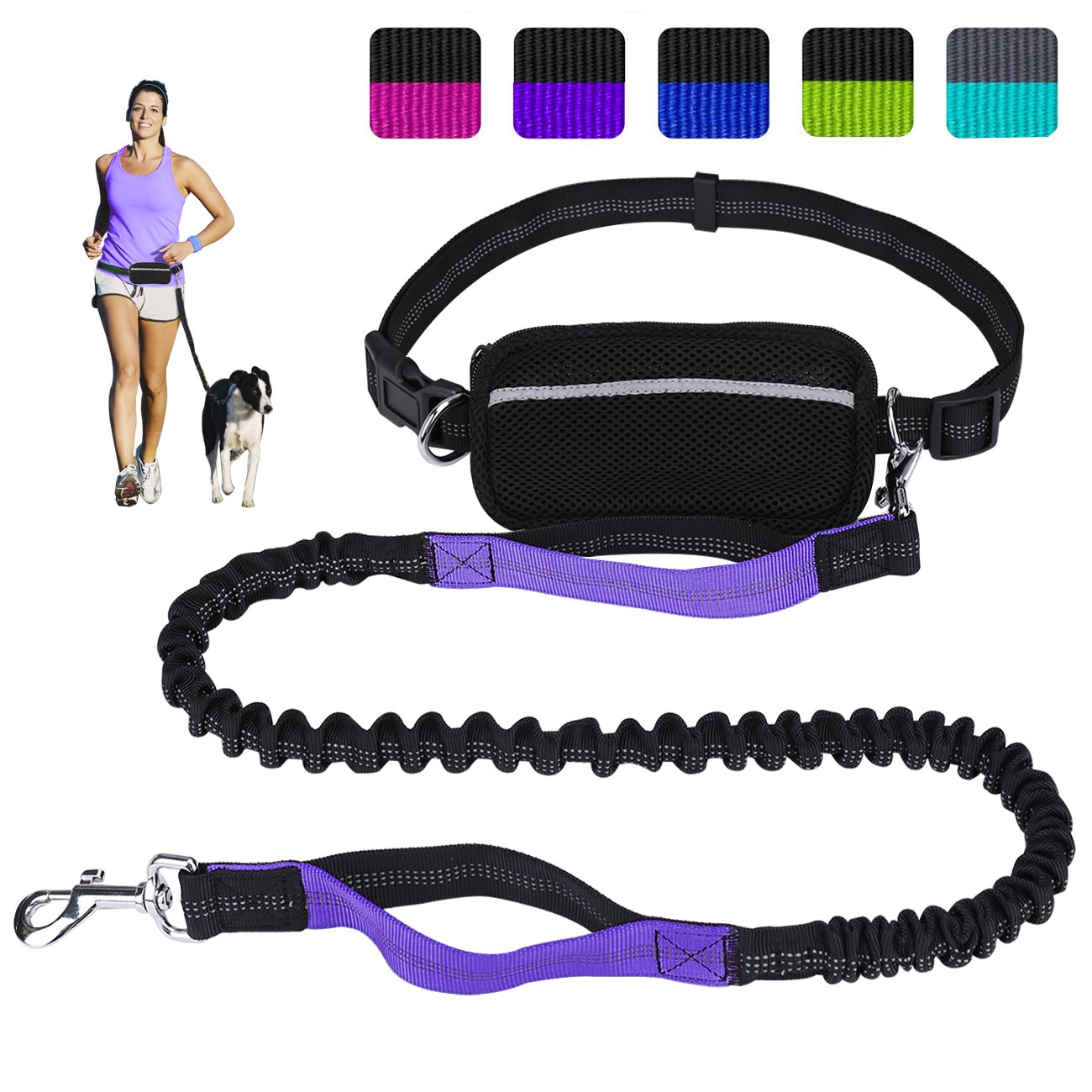 Black Purple Hands Free Dog Leash for Running Walking Training Hiking, Dual-Handle Reflective Bungee, Poop Bag Dispenser Pouch, Adjustable Waist Belt, Shock Absorbing, Ideal for Medium to Large Dogs (Black Purple)