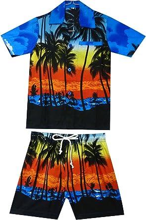 Original King Kameha | Funky Hawaii camisa y pantalones | 2 piezas Cabana Set | Niños | 2-8 años | Hawaii | Palmeras playa mar | Azul