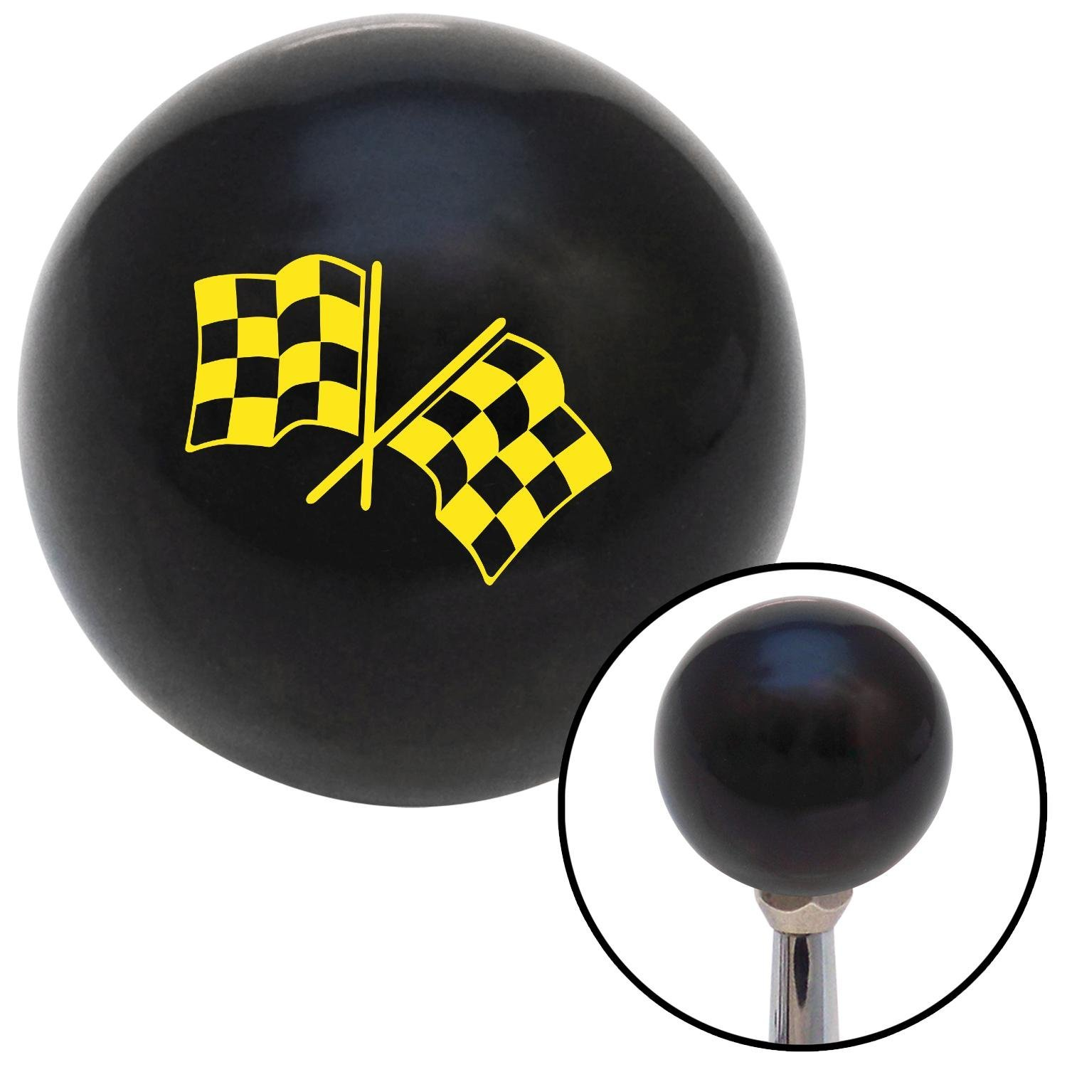 Yellow Checkered Flags American Shifter 107959 Black Shift Knob with M16 x 1.5 Insert