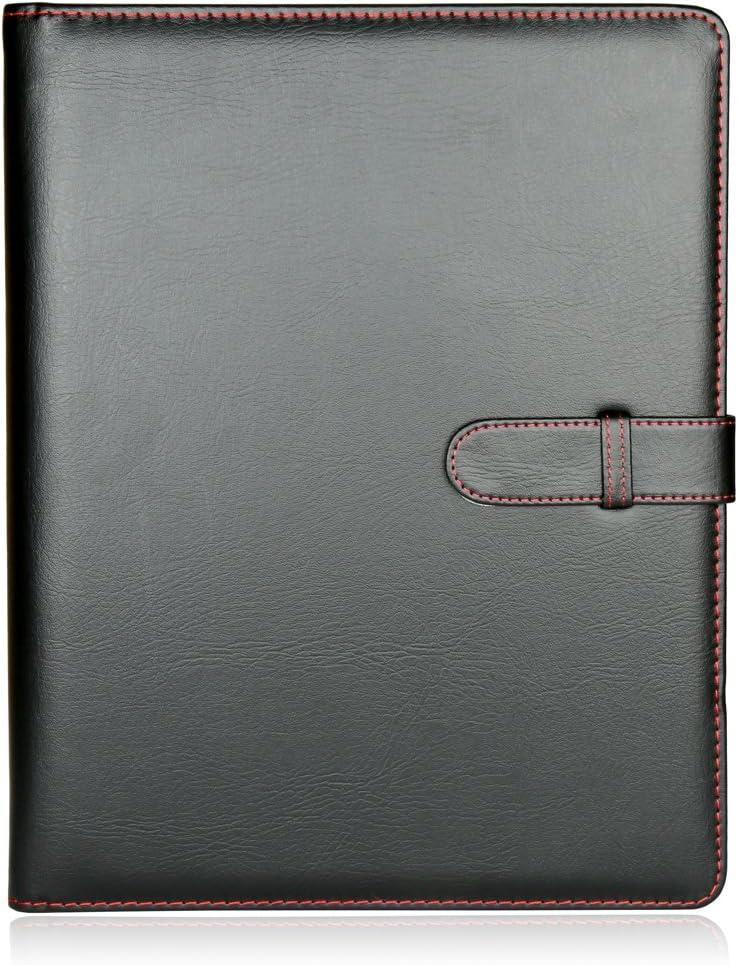 H&S Carpeta profesional Carpeta de archivos de documentos de carpeta de anillas de cuero sintético A4 (40 bolsillos)