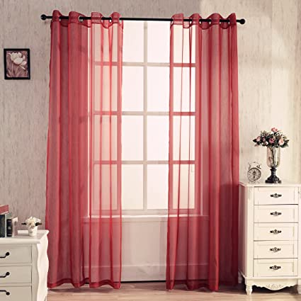 WPKIRA Living Room Curtain Screens Bedroom Dark Red Curtains Sheer Extra  Wide Solid Grommet Sheer Curtain Panels Yarn Sheer Window Curtain Pure  Voile ...
