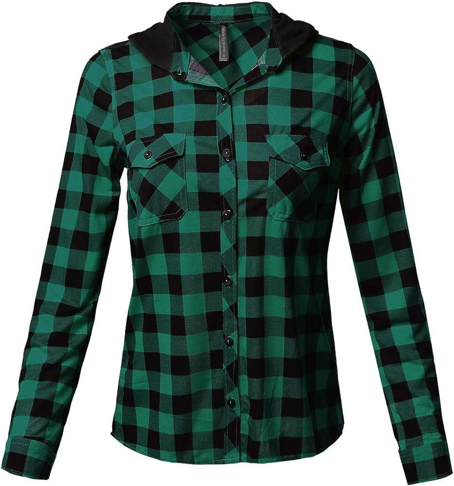 Camisa básica de mujer con cuello ligero y botones a cuadros - Verde - Large: Amazon.es: Ropa y accesorios