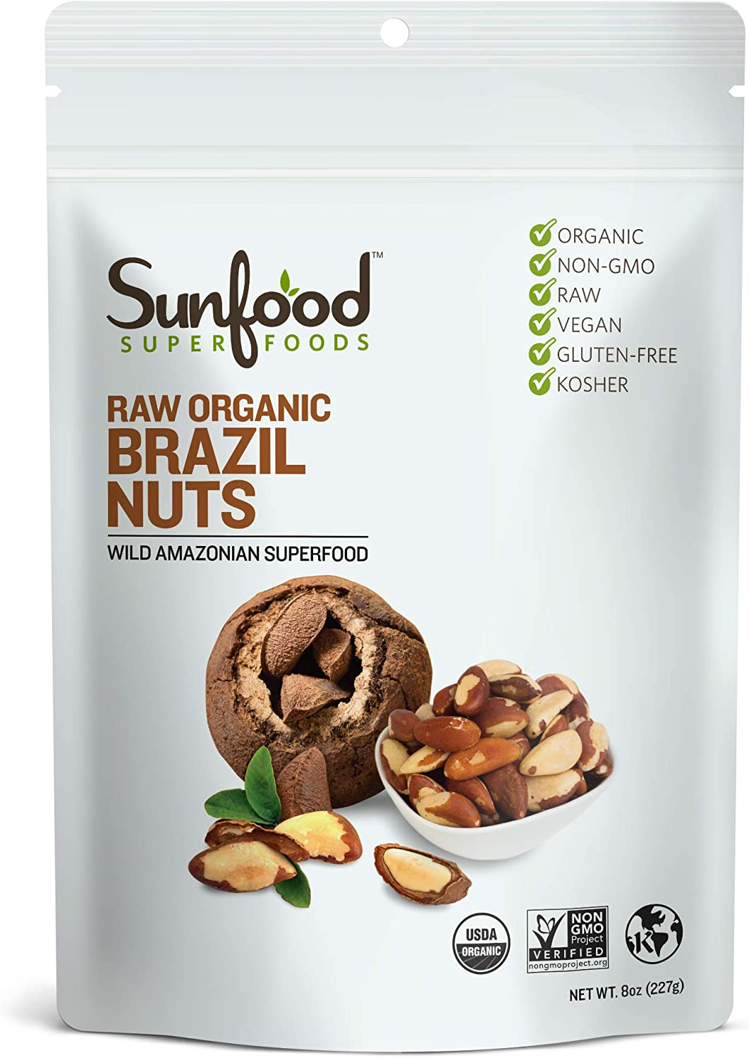 Sunfood Superfood Brazil Nuts - Raw Organic - Non GMO - Rich in Protein, Fiber, Healthy Fats - Low Temperature Dried to Preserve Nutrients - No Preservatives pr Additives 8 oz Bag
