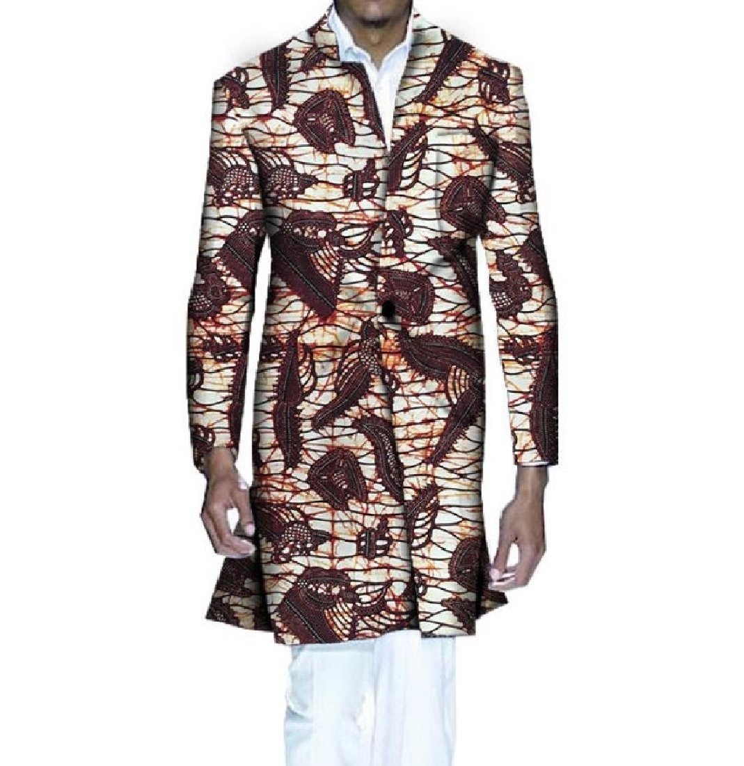 Highisa Men's Africa Wrap Jacket Dashiki Printing Floral Vogue Trench Coat 2 XL