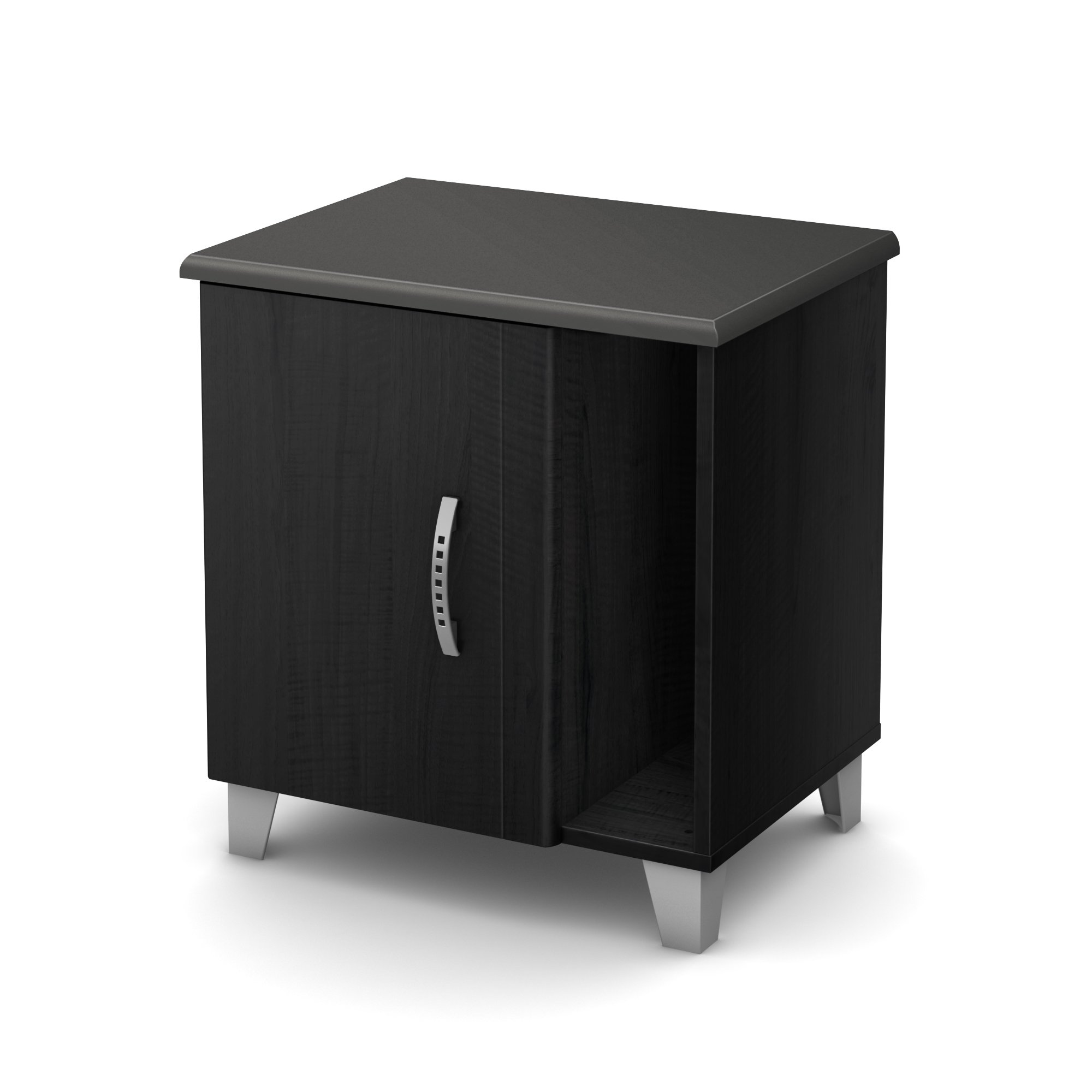 South Shore Lazer 2-Shelf Nightstand with Cabinet Door, Black Onyx with Metal Hardware