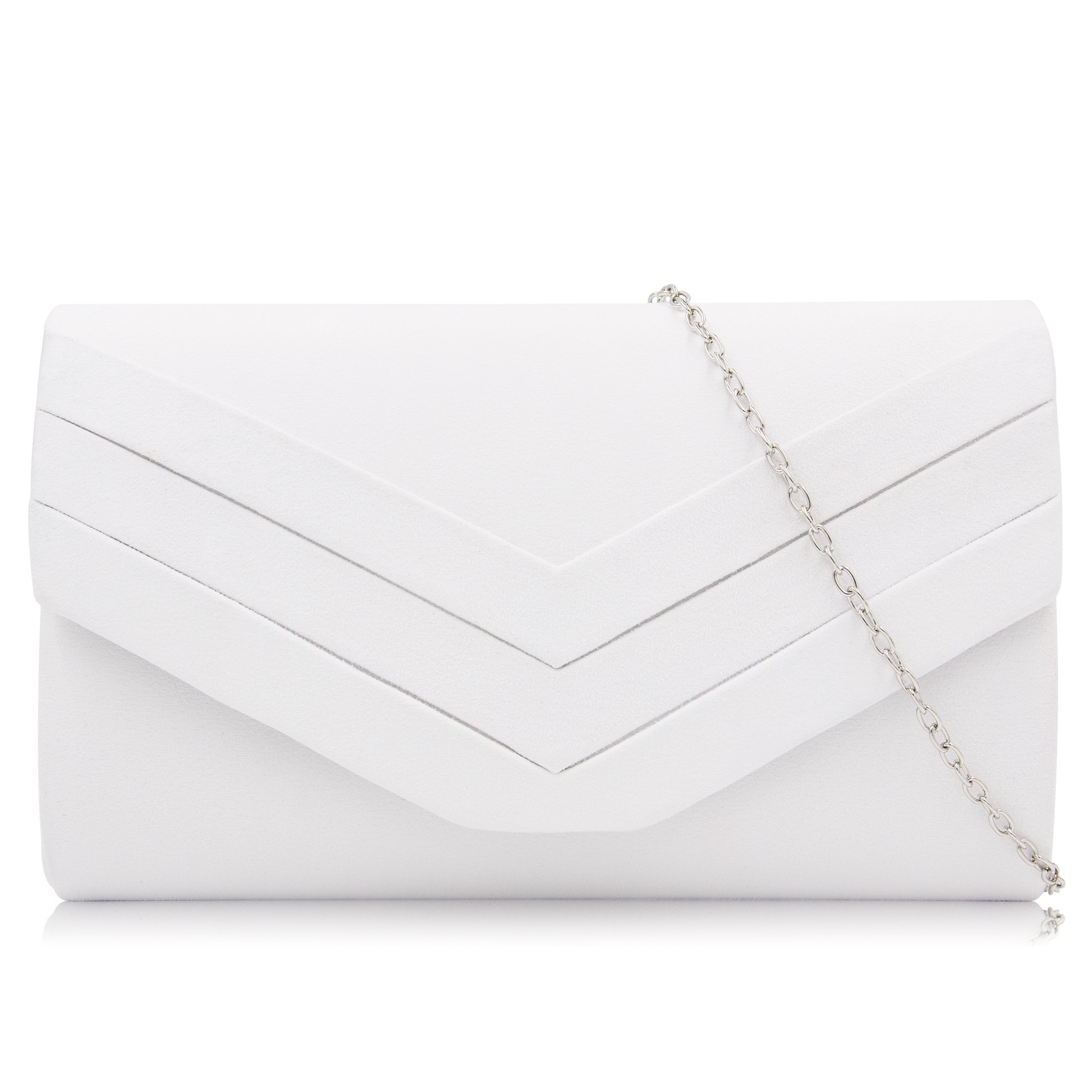 Milisente Women Clutches Velvet Evenlope Evening Bag Classic Clutch Purse (White) by Milisente