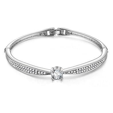 Gros bracelet élégant et réglable pour femmes orné de pierre Swarovski