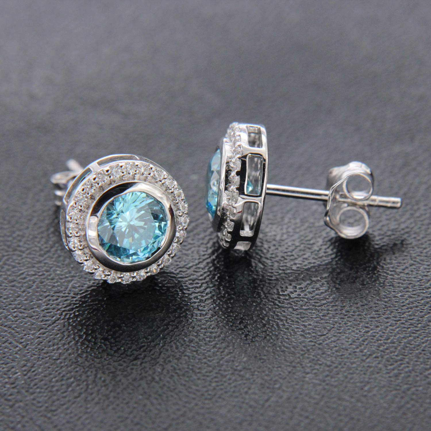 Round Cut Blue Topaz /& Round Cut Simulated Diamond 14k White Gold Finish Halo Solitaire Stud Earrings for Womens