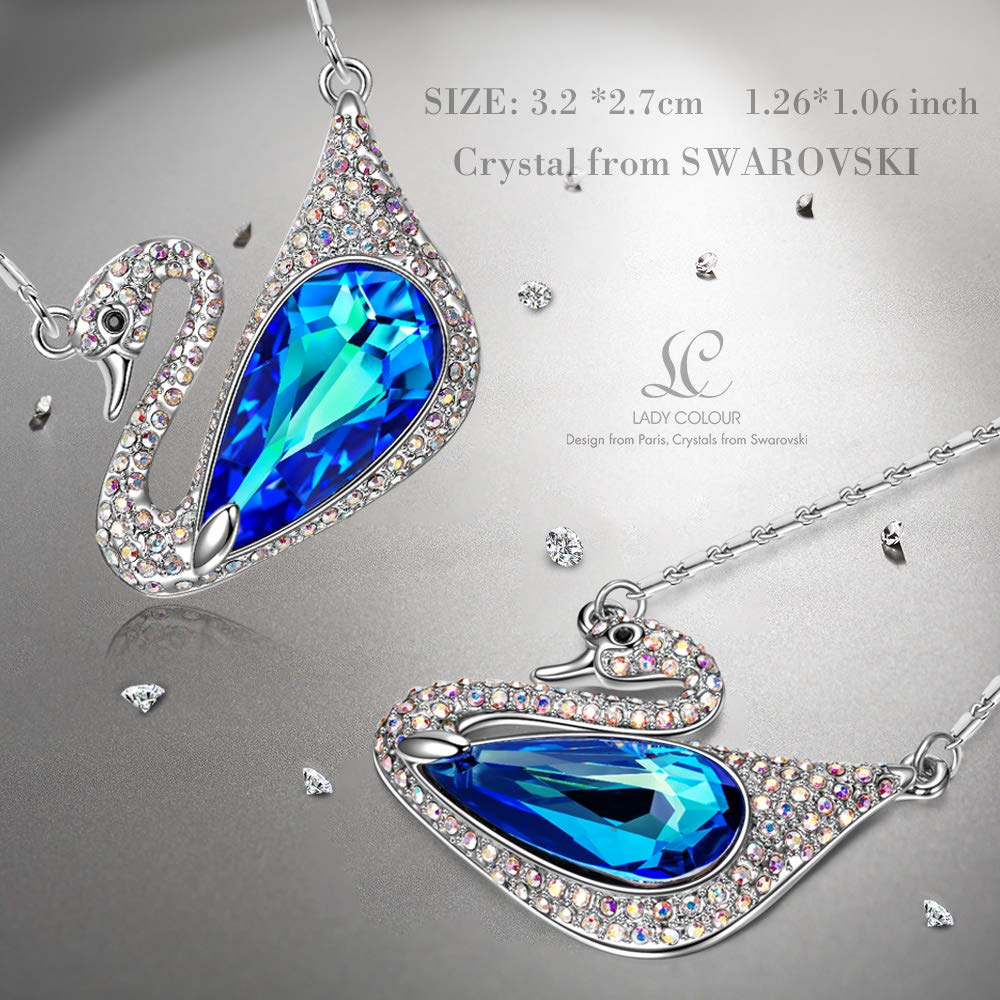 LADY COLOUR Necklace Gifts for Her Lovey Swan Big Animal Designed Pendant Necklace for Women, Crystals from Swarovski Hypoallergenic Jewelry Gift Box Packing, Nickel Free Passed SGS Test