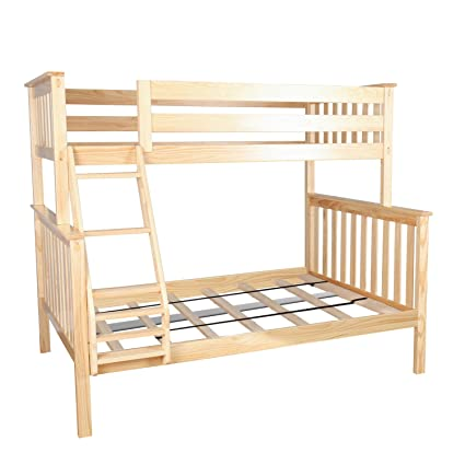 Amazon Com Max Lily Solid Wood Twin Over Full Bunk Bed Natural