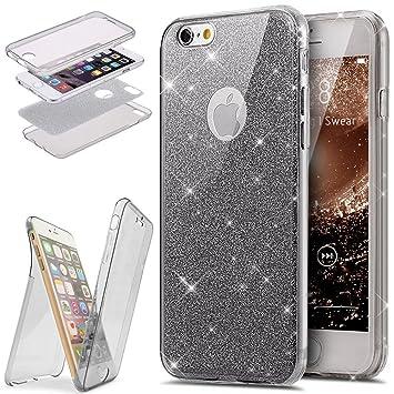 Funda iPhone 6/6S Plus 360 Grado Integral Ambas Carcasa,ETSUE iPhone 6/6S Plus Funda 360 Full Body Completa Cas + Glitter Brillante Paillettes 3 en 1 ...