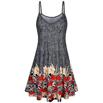 328f303b80 Summer Chiffon Beach Dresses for Women,Wawer Lady Boho Printing Swing Midi  Evening Dress,