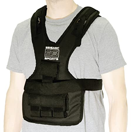 Seismic Sports – SS20VBK – Adjustable Weighted Vest 20 lb Black for Crossfit, HIIT, Strength, Cross Training and Cardio Exercise
