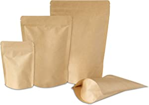 Yuugen Products Kraft Stand-Up Pouch Bags with Aluminum, Zip Lock, and Tear Notch - Reusable, Heat-Sealable | Storage for Food, Non-Food Items, Home and Business - 50 Pcs (5.9
