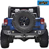 """EAG Rear Bumper With Two Square LED Lights & 2"""" Hitch Receiver for 07-17 Jeep Wrangler JK"""