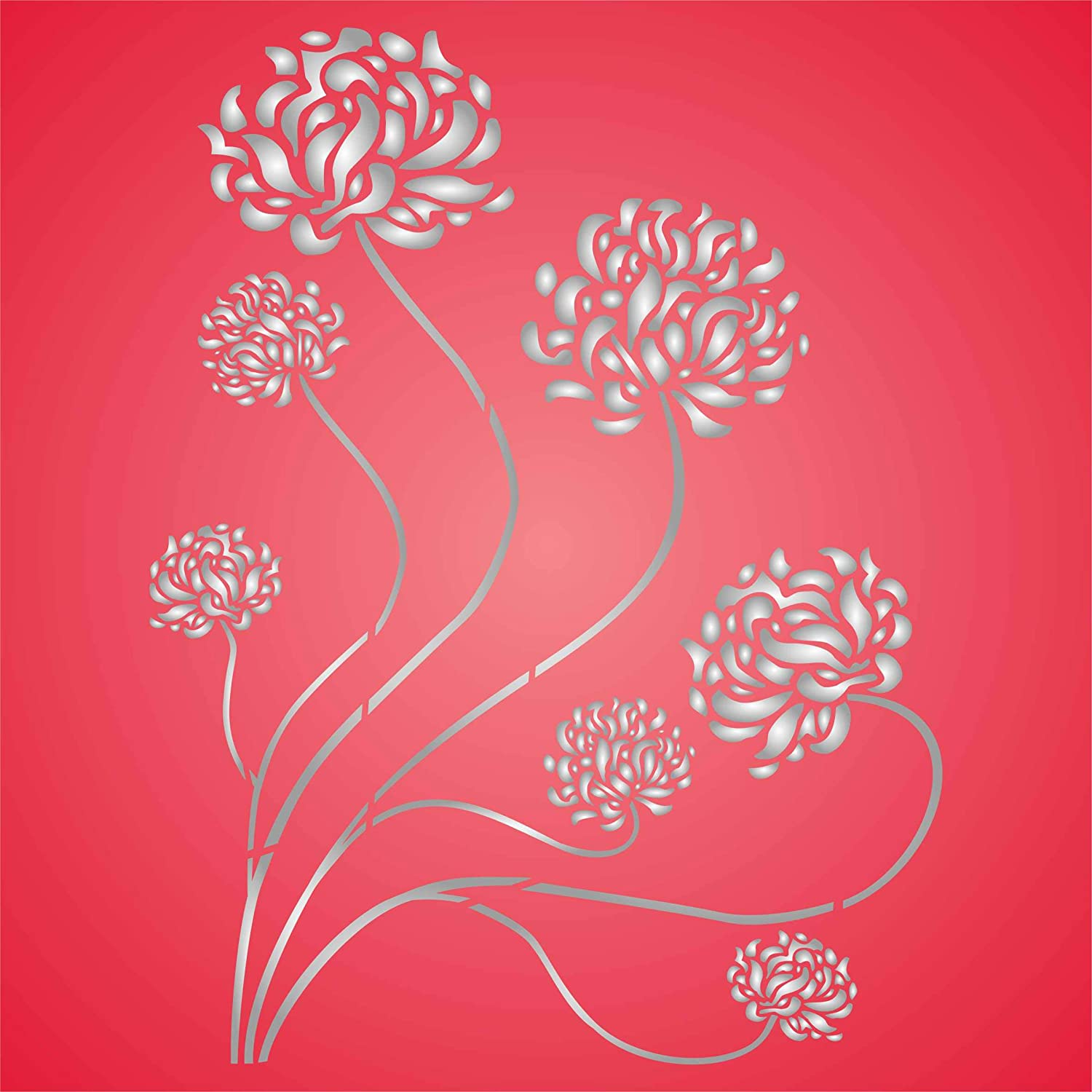 Oriental Mums Stencil, 13 x 17 inch (L) - Asian Chrysanthemum Chinese Japanese Flora Flower Wall Stencils for Painting Template