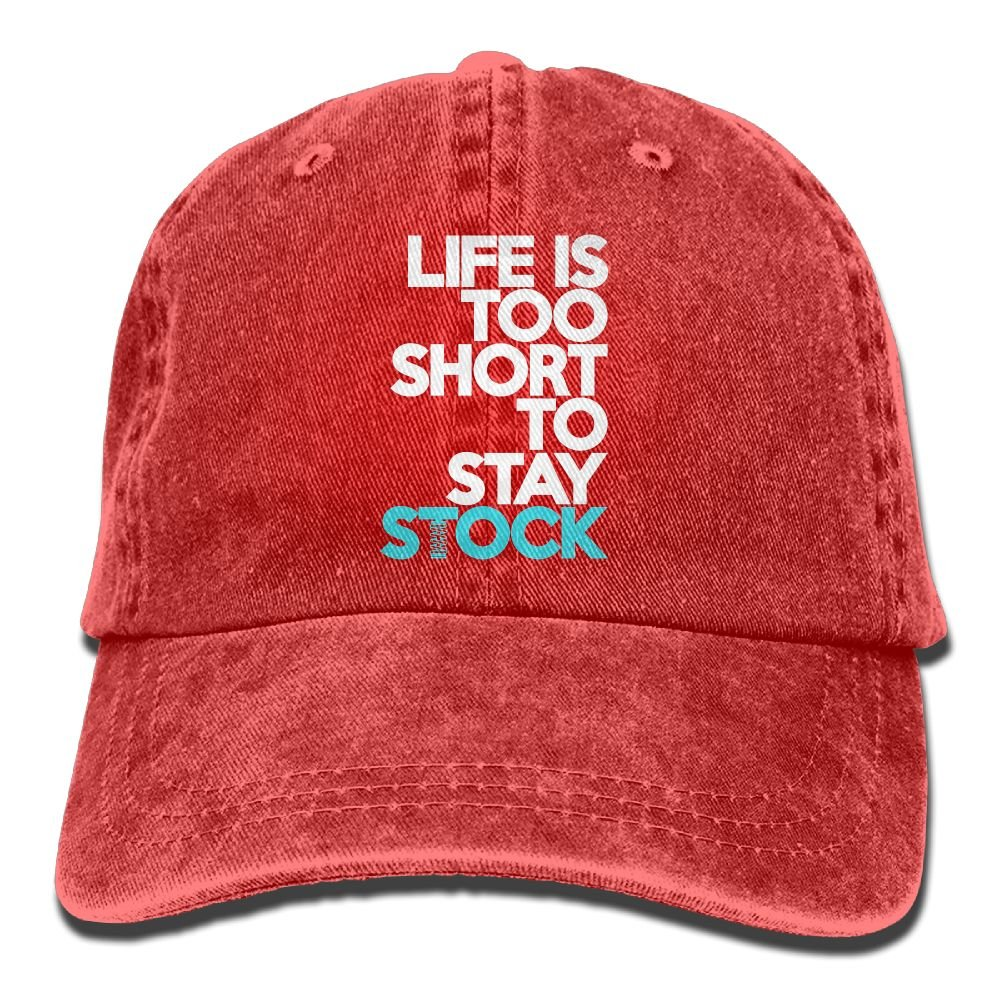 Lifes Too Short to Stay Stock Plain Adjustable Cowboy Cap Denim Hat for Women and Men