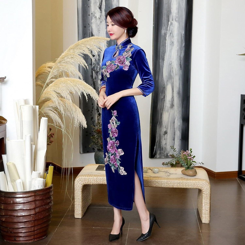 ACVIP Women's Sequin Flower Embroidered Half Sleeve Velvet Long Chinese Dress Evening Wedding Cheongsam Slim Fit