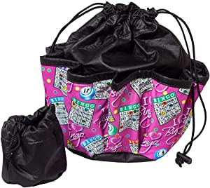 ABS Novelties I Love Bingo Pink Pattern 10 Pocket Tote Black