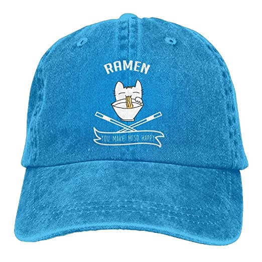 Amazon.com  Ramen Make Cat Happy Denim Hat Adjustable Womens Cute ... 8266526582