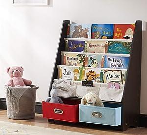 SEIRIONE Kids Bookshelf, 4 Sling Book Display Stand, 2 Toys Storage Organizer Cube Bins, Espresso,1 Year Warranty