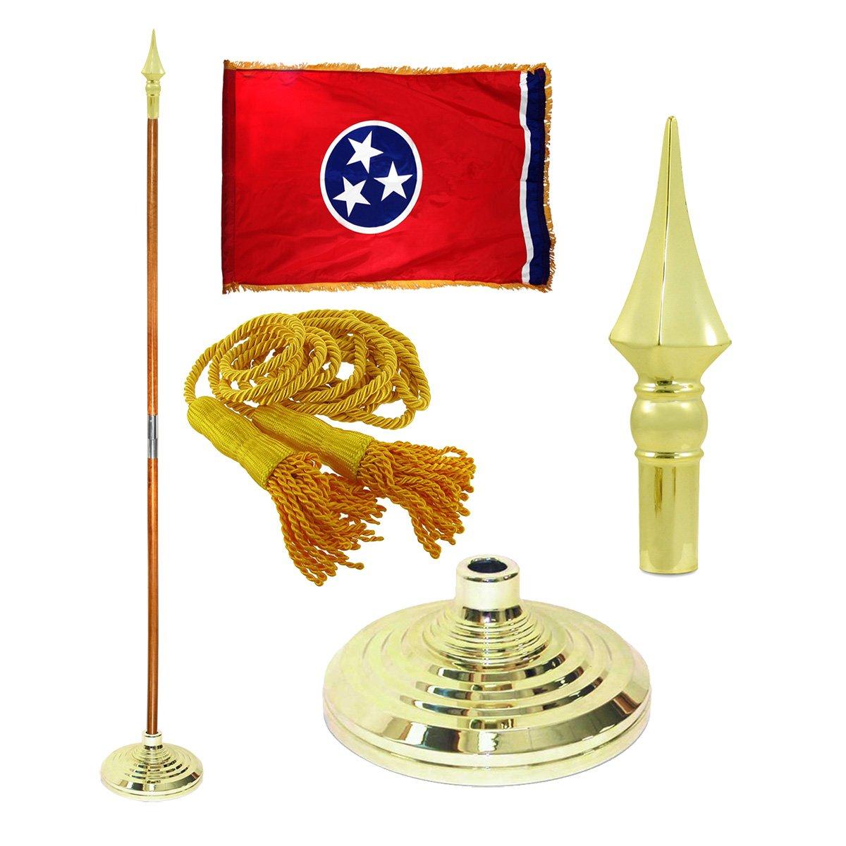 Tennessee 3ft X 5ft Flag, Flagpole, Base, and Tassel (8 Ft Oak Pole, Plastic Spear)