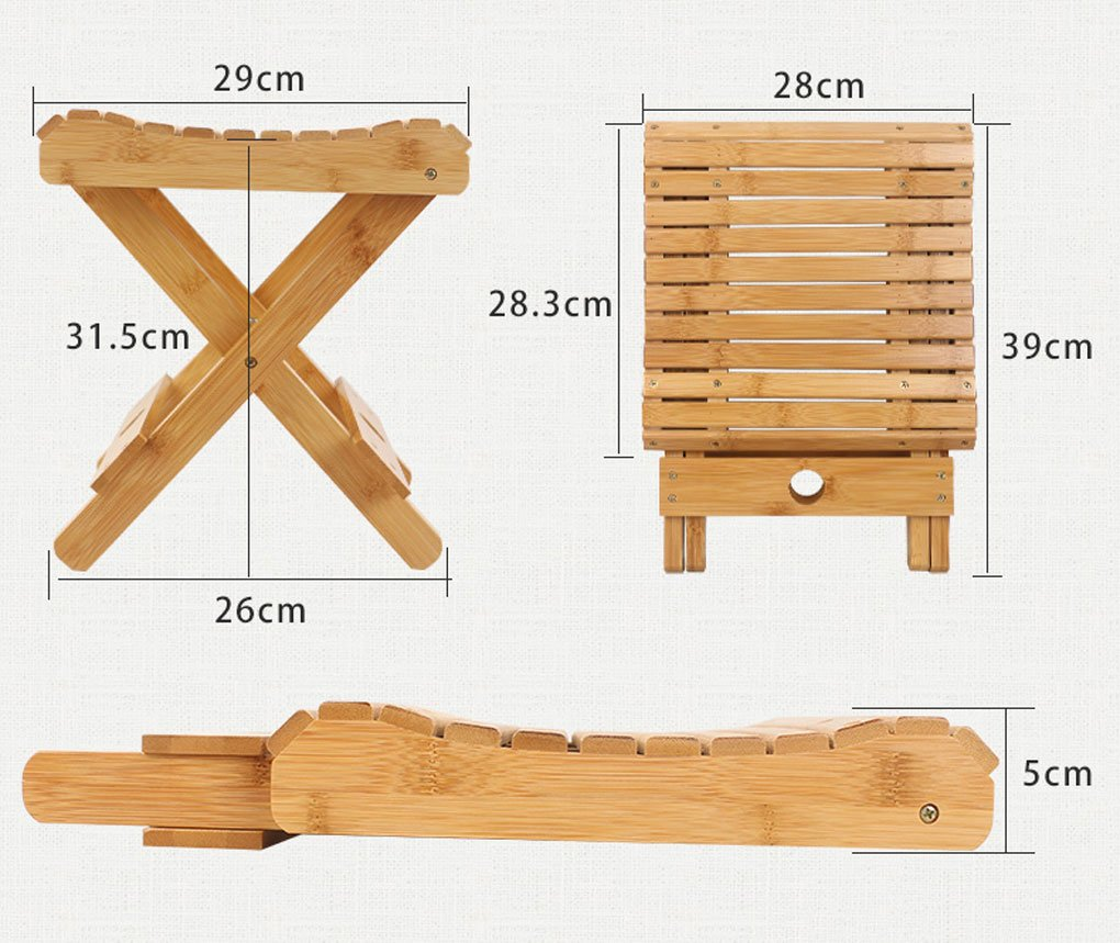 Color : #1 LFFYIZI HJHY/® Bamboo Folding stool Portable Household Solid wood Mazar outdoor Fishing chair Small bench Square stool correct sitting posture