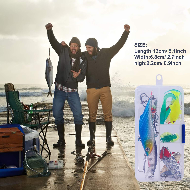 HONGXIN-SHOP Kit de Leurre 24 Pcs Leurres de P/êche Kit Souple Dure App/ât Emerillons Crochets et Bo/îte de Rangement pour la P/êche en Eau Douce et Eau de Mer