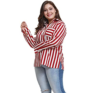 f5684aecd355e ... Women Stripe Chiffon Blouse T-Shirt - Long Sleeve Tunic Tops  Lightweight V Neck Pullover Plus Size Office Work Shirts at Amazon Women s  Clothing store