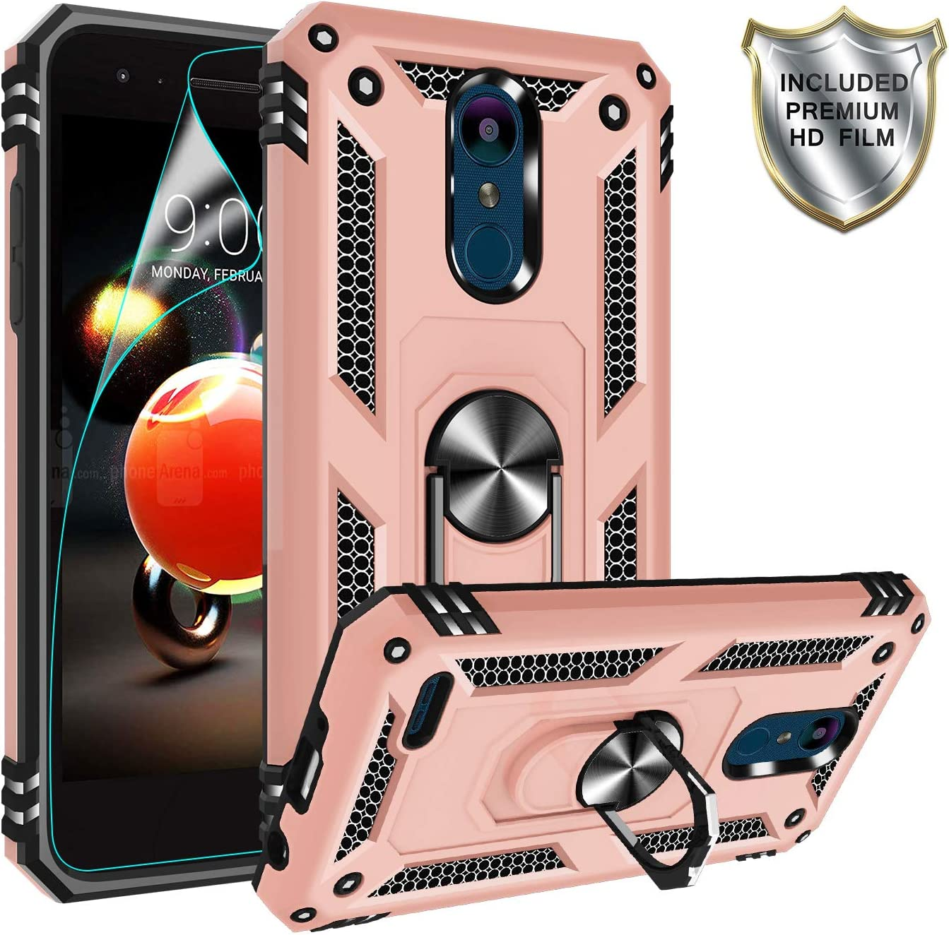 LG Zone 4 Case,LG Aristo 2/Aristo 3/K8 2018/Tribute Dynasty/X210/LV3 2018/K8+ Case with HD Screen Protector,Gritup 360 Degree Rotating Metal Ring Holder Kickstand Phone Case for LG Aristo 2 Rose Gold