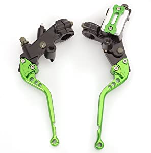 """Rzmmotor CNC 7/8"""" Brake Master Cylinder Hydraulic Lever Reservoir Clutch Universal Fit For KAWASAKI NINJA 250R 300R,KTM RC125/125 Duke,YAMAHA WR125X WR125R MT 125 Green"""
