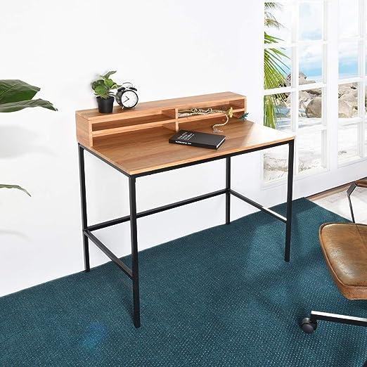 iHouse Mesa de Escritorio Moderna para Ordenador con estantes de ...