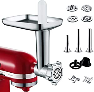 Metal Food Grinder Attachments for KitchenAid Stand Mixers, Durable Meat Grinder, Includes Three Sausage Stuffer Tubes, Kubbe Meat Processor Accessories