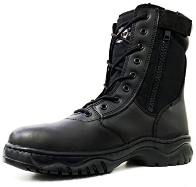 Amazon.com | Men's Tactical Boots Side Zipper Black Combat ...