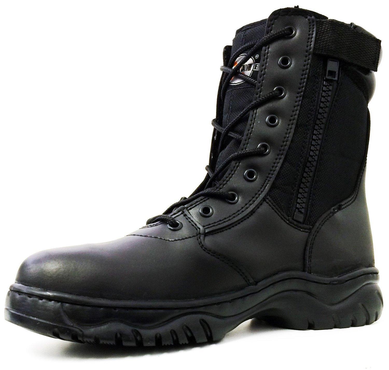 G4U-CT Men's Tactical Boots Side Zipper Black Combat Military SWAT Work Shoes (12 D(M) US, Black)