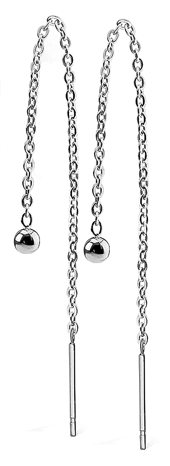 S/&H JEWELRY Pair of Chained Free Falling 3mm Ball and Bar Stainless Steel Earring