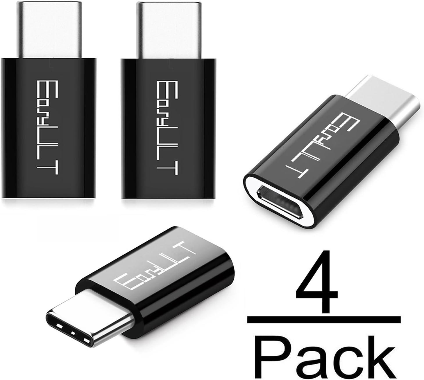 EasyULT Adaptador USB C, 4 Pack Adaptador USB Type C a Micro USB Conector Convertidor para Transferencia de Datos para XiaoMI, P20 Lite,Galaxy S9/S8 y más-Negro