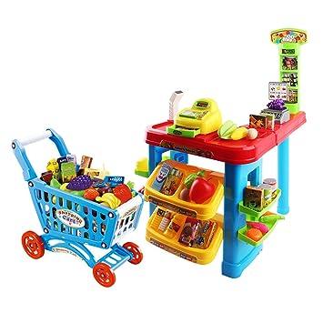 deAO Supermercado - Mostrador de Mercado con Carrito de la Compra y Más de 30 Accesorios y Productos Incluidos: Amazon.es: Juguetes y juegos