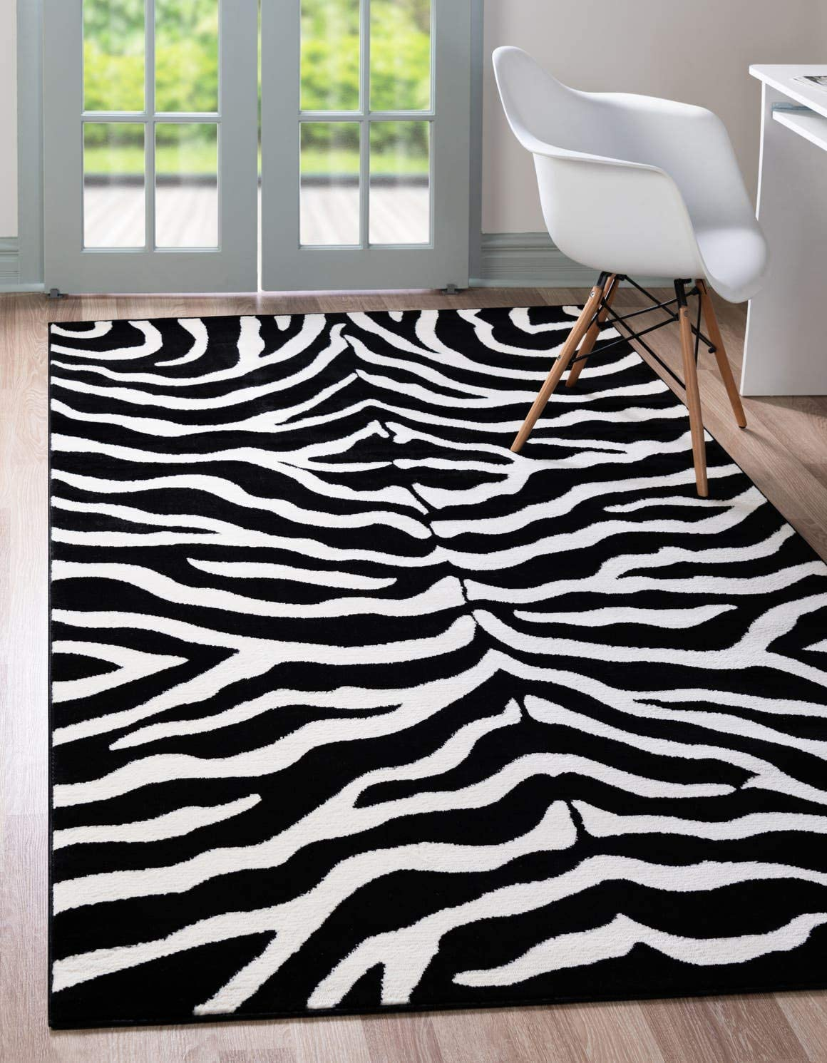 Unique Loom Wildlife Collection Zebra Animal Print Black Area Rug 5 0 x 8 0