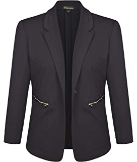 ea8224f64a9 Chicwe Women s Plus Size Stretch Solid Work Blazer Suit Jacket with Metal  Zipper