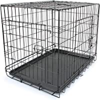 "30"" Double Door Metal Dog Cage Kennel Crate Pet Door Puppy Rabbit Playpen"