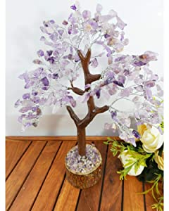 PYOR Amethyst Bonsai Gemstone Money Stone Tree Reiki Healing Aura Crystal Cleansing Chakra Balancing Spiritual Gift Home Decor Negative Energy Cleansing Stone Silver Wire 10-12 Inch