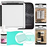 Tonic Studios Tim Holtz Travel Stamp Platform (1711E), Platform Sleeve, Ranger Inkssentials Stamp Cleaner 4-Ounce, Pixiss XL Stamp Cleaning Shammy, Mini Ink Blending Round Tool, 20x Replacement Foams