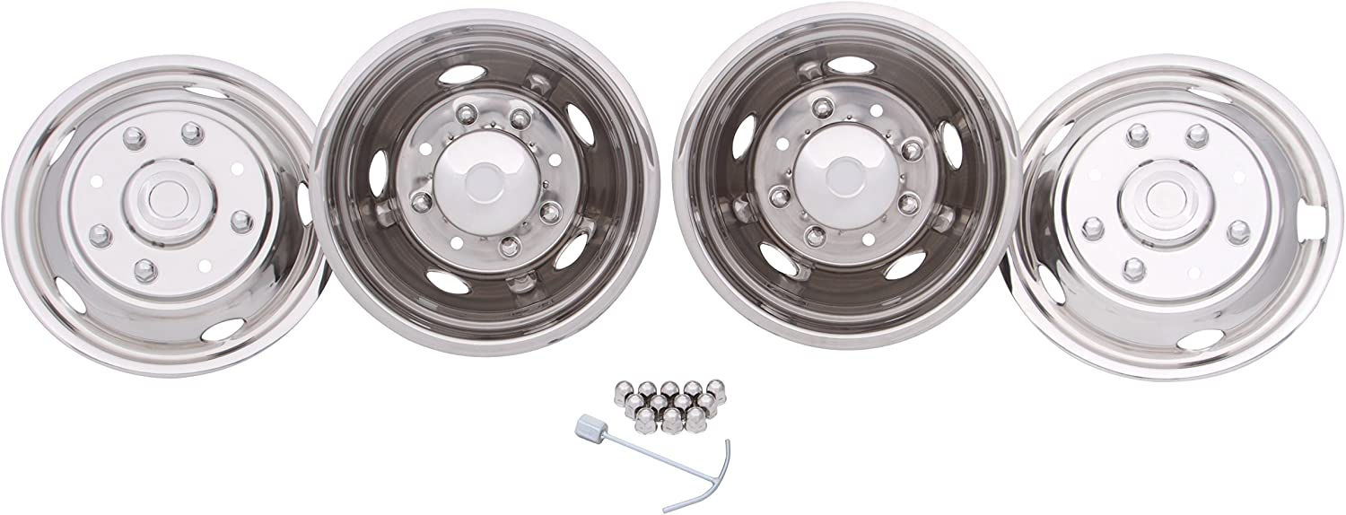 Kaper II SS-29837ULT Polished Stainless Steel Ford Wheel Simulator Set 17 X 6.5 8 Lug 200Mm Bolt Circle 4 Hand Hole 05 Ford F-350 to Current with Pop Off Front Caps