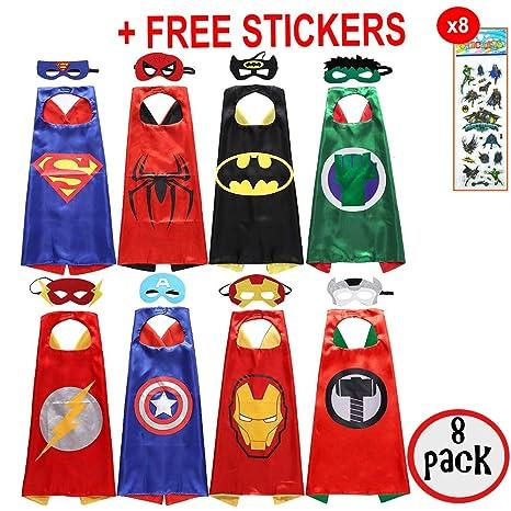 SquishyBean - Set di 8 costumi da supereroi per bambini composti da  mantello e maschera  3290aee4a33