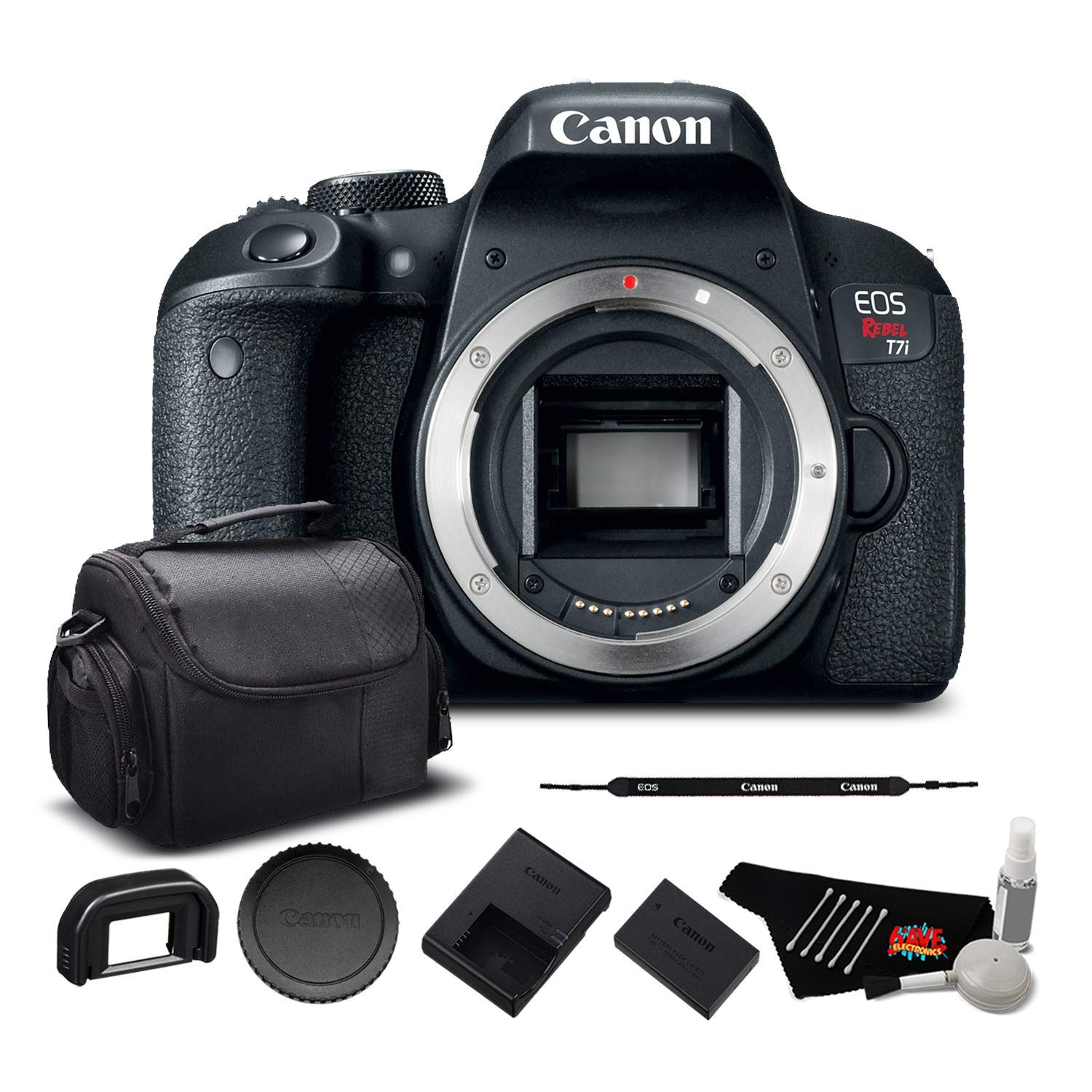 Canon EOS Rebel T7i Digital SLR Camera (Body Only) 1894C001 - Starter Bundle by Canon